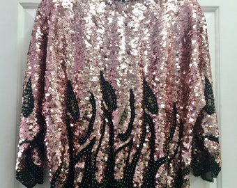 Vintage 80s Black and Pink Beaded Sequin Slouch Top / Bat Wing / Large