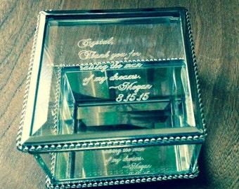 bridesmaid gift glass box engraved box personalized glass box jewelry box keepsake box jewelry holder