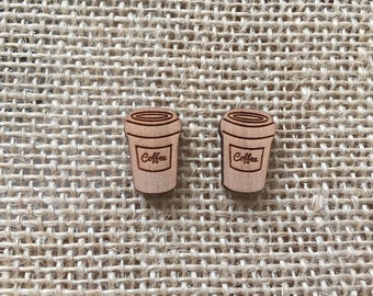 Coffee Cup Laser Cut Wood + Stainless Steel Studs