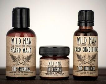 Mens Beard Grooming Gift Set THREE PACK Beard Oil Conditioner, Wash + Cream