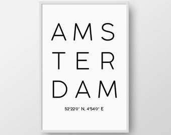 Printable Amsterdam Print, Amsterdam Poster, Amsterdarm Coordinates Print, Modern City Coordinates Poster, Minimal City Scandinavian Poster