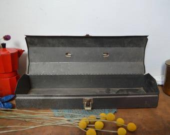 Vintage Long Metal Toolbox Tools Man Decor