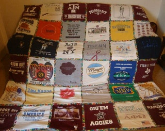 Unlimited Shirts & Items - Any Size - T Shirt Memory Blanket Double Sided w/ border