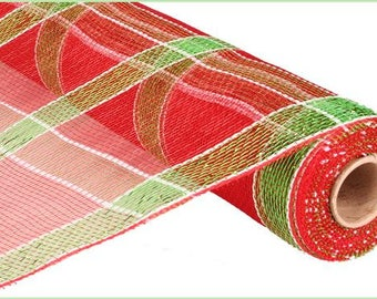 """21"""" Christmas mesh, red and green mesh, red mesh, lime green mesh, Christmas mesh, plaid mesh, plaid Christmas mesh red lime green deco mesh"""