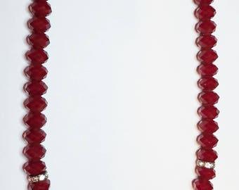 "Deep Rich Ruby Red Velvet Designer Faceted Glass Crystal Rondelle & Magnetic Clasp Necklace  21 1/2"""