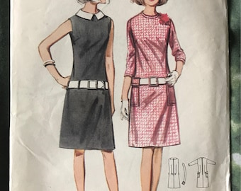 BUtterick shift dress ladies dressmaking vintage 1960's original pattern mod mad men