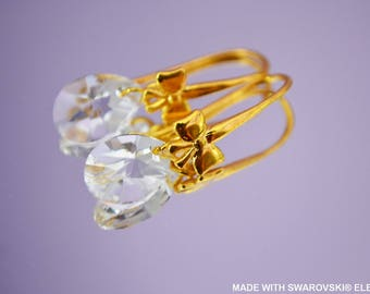 SWAROVSKI Crystal mini PEAR earrings / silver plated yellow gold