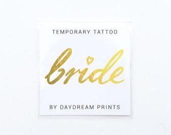 Gold Bride tattoo | Bachelorette tattoo | Bride gift | Gold wedding tattoo | Hens party tattoo | Bridal shower gift | Bridal shower favor