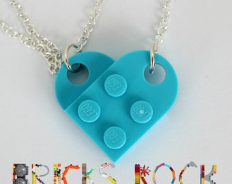 Turquoise Heart  Necklace - Jewelry made with LEGO® pieces
