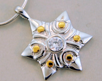 Star of David and CZ Sterling Silver  Pendant.