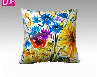 Pillow cover, wild flowers pattern, Velvet