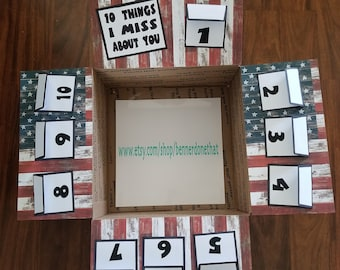 10 Things I Miss About You, Care Package Flaps, Miss You, love, military, deployment, missionary, box flaps, family, red, white, blue