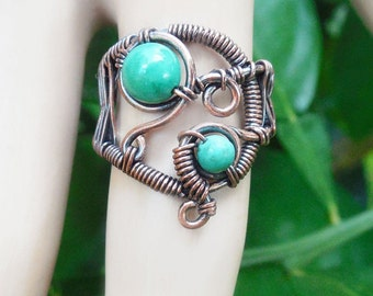 Turquoise wire wrapped ring, boho rings, size 6.5 ring, bohemian rings, wire wrapped jewelry, boho jewelry, turquoise ring, gypsy rings