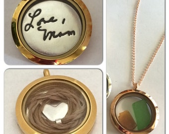 Glass Curio Locket to hold your treasures - Choose from 3 colors of metal. Ready to ship