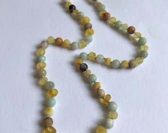 """Baltic amber and amazonite necklace 20"""""""