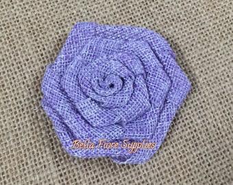 Lavender Burlap Rolled Rosette Flowers, Purple Burlap Flower- 3 inch Rosette, Burlap Flowers, Wedding Supply, Burlap Rose