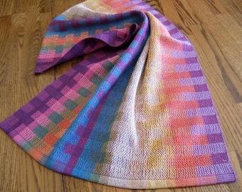 Tea Towel Handwoven Purple Color Blocks, Chef Towel, Bath Towel, Hand Towel, Hostess Gift, Kitchen Towel, Artisan Made Towel