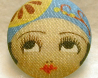 Flapper Button AMY - Hand Printed Fabric 1 and 1 eighth inch