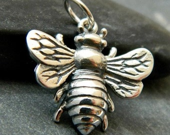 Large sterling silver honey bee bumblebee charm. DIY jewelry, add to necklace or charm bracelet