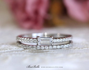 1.10 ct.tw Bridal Set Ring-Baguette Cut Center Engagement Ring W/ All or Half Eternity Band Ring-Stacking Ring-Sterling Silver [62350-CL-2]