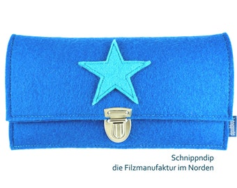 Purse/wallet/purse made of high quality wool felt with a star decoration