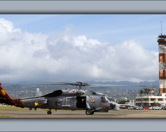 Poster, Many Sizes Available; Sikorsky Sh-60B Sh-60 Sea Hawk Helicopter On Ford Island