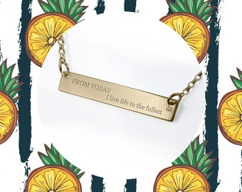 Inspirational Necklace Quote necklace Customized Gold Bar Personalized Necklace motivational jewelry Resolutions / From today I help others