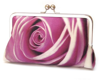 Clutch bag, silk purse, pink rose petals, wedding purse, flower clutch, bridesmaid gift, ROSA