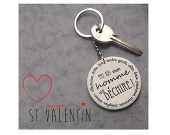 "Valentine's day husband keychain ""you're my man who rocks"""