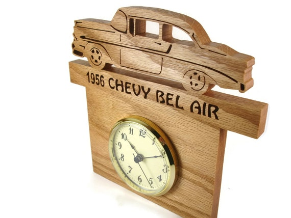 1956 Chevy Bel Air Wall Hanging Clock Handmade From Oak Wood By KevsKrafts