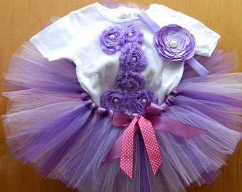 Lavender purple and pink First Birthday Tutu- Smash cake photoprop, special Occasion