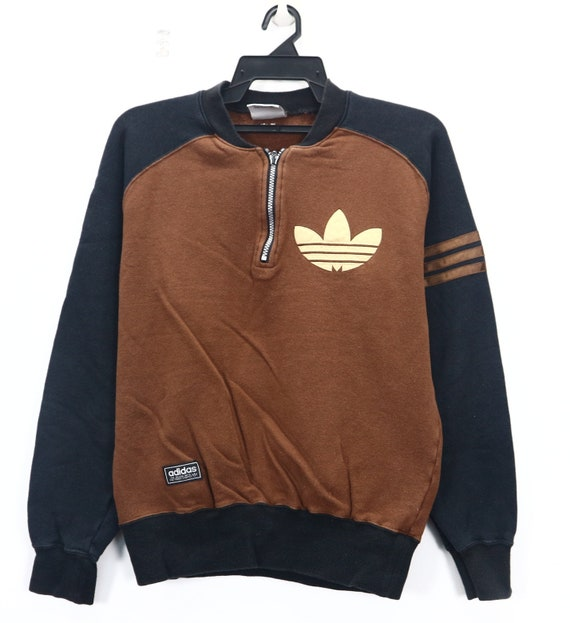 Wear Sportswear Sweater Color Retro Half Block Sport Big Pullover Hop Zip Vintage Medium Hip Logo Adidas Size Rwx664S