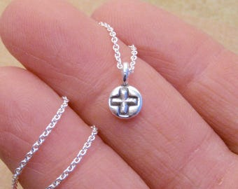Tiny cross necklace - sterling silver simple cross - dainty cross necklace - Photo NOT actual size