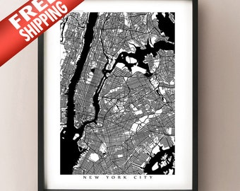 New York City Map - Black and White NYC Poster Print