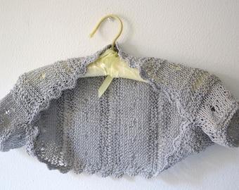 Grey Shrug, Knit Bolero, Wedding Sweater, grey Bolero, summer knit shrug, grey sweater
