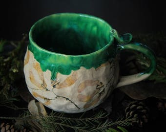 green plant mug for gardener mug flower art mug floral print mug for tea