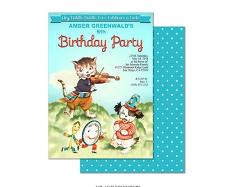 Nursery rhyme birthday party invitation / printable invitation / Hey Diddle Diddle / editable PDF / DIY custom invite /add your own text