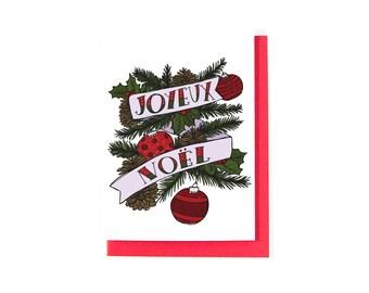 Joyeux Noël Greeting Card - French Christmas Card - Merry Christmas Card - Happy Holidays Card - Season's Greetings Card