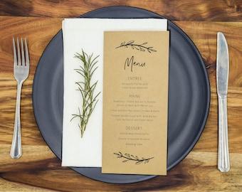 Rustic Wedding Menu Cards Menus Wedding Reception Menus Personalised (DARK KRAFT)