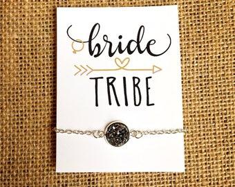 Bridesmaid Gift - Druzy Bracelet - Rose Gold, Gold, Gun Metal, Silver
