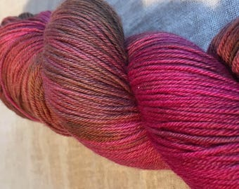 Pink and Brown Hand Dyed 4ply Sock Wool/Nylon Yarn 400 Mtrs  100gms