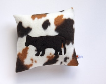 Nap Time Pillow - Travel Pillow - 8 x 8 - Toddler - Ivory, Brown, Tan Cow Applique - IN STOCK and Ready to Ship