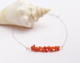 Sterling silver chain Bracelet -  Coral beads bracelet - sterling silver chain bracelet - stackable bracelet - summer orange bracelet