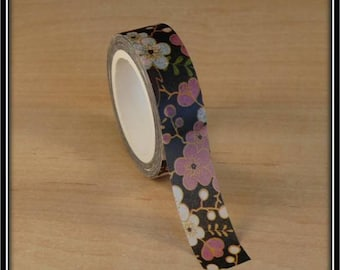 masking tape 15mm x 10 m black amid pink and white cherry blossoms