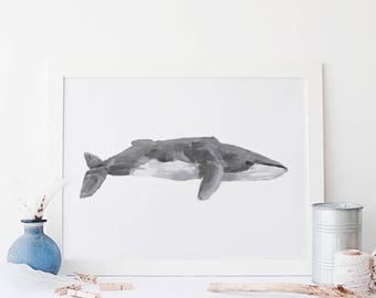 Nautical Whale Art, Whale Wall Decor, Fin Whale Print, Whale Art painting, Nautical Home Decor, Coastal Prints, Whale Nursery, Office Decor