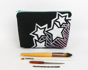 Shooting Stars Screen Printed Zipper Pouch, Makeup Bag, Handmade Bag, Handprinted, Stars, Outer Space, Pink Green Purple Blue