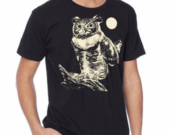 Owl t-shirt. Great Horned Owl, men's t-shirt, black graphic t-shirt, Moonlight, Size XS, Small