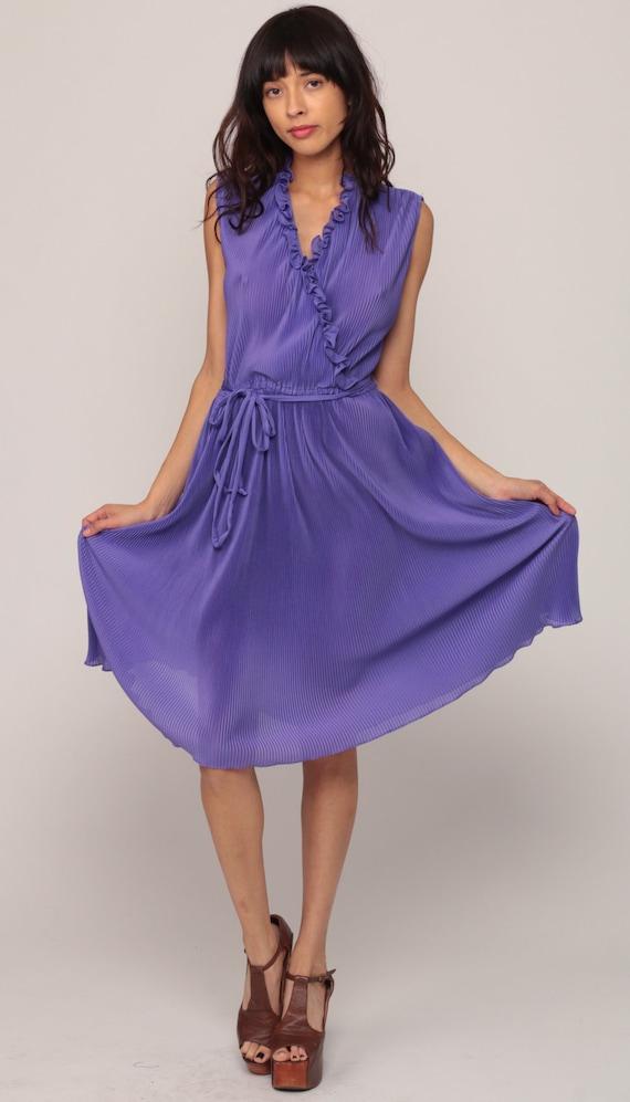 Purple Dress 70s Boho Grecian Knife PLEATED Dress Midi Ruffle