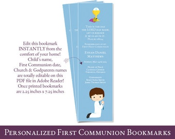 first communion bookmark favors for boys // Personalized 1st Communion Bookmark // PDF file You edit at home with ADOBE READER