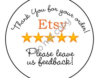 INSTANT DOWNLOAD: Etsy Reviews, Etsy Seller Reviews,  Thank You Stickers, Tags, diy printable file